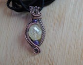 Citrine Chunk Amethyst Beads Wire Wrapped in Oxidized Copper Pendant Wire Wrapped Jewelry Handmade Charkra Boho Gemstone Handcrafted Weave
