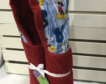 Mickey Mouse red hooded towel with personalization