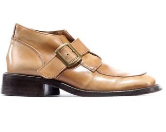 PLATFORM Mens Boots 1970's Monk Strap Grandpa Booties Beige Leather Chunky Block Heel Thick Durable European Quality Eu 42, Us men 8.5, Uk 8