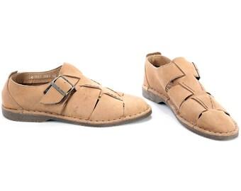 HUARACHE Sandals Men's 80s Wide Fit  Gladiator Fisherman Suede Beige Buckle Strap Shoes Summer Hipster Gift sz US men 7.5 Eur 40 UK 7