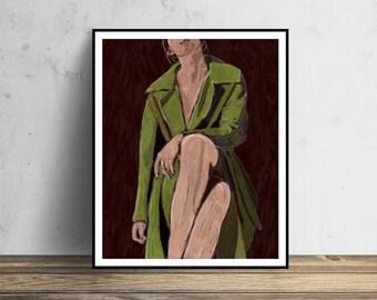 Original Painting - LIMITED EDITION Digital Painting Girl Painting Portrait painting digital oil painting Green Coat