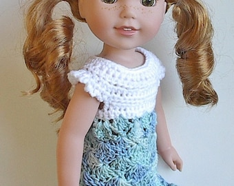 "14.5"" Doll Clothes Crocheted White and Blue Dress Handmade to fit the Wellie Wishers doll and other similar dolls - White and Blue Dress"