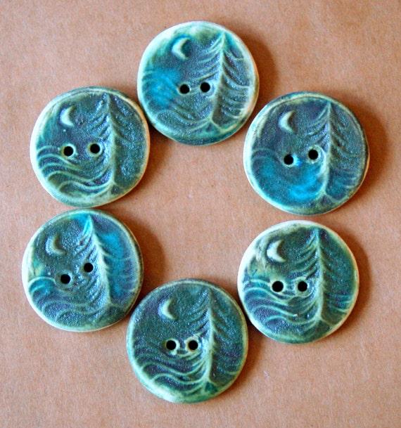6 Handmade Ceramic Buttons - Moon over Cedars Buttons in Deep Moss Green Stoneware - Woodland Buttons - Knitting Supplies