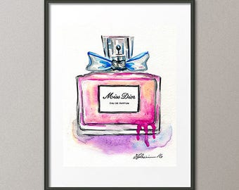 Miss Dior Original Watercolor Painting Parfum Painting Perfume Painting Christian Dior Fashion Art Pink Glass Bottles Mothers Day Gift
