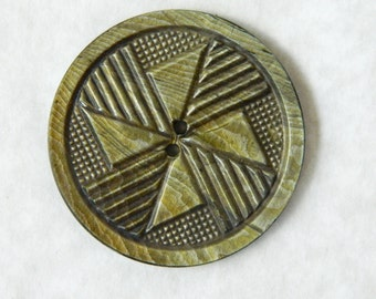 Large Vintage One Piece Celluloid Wafer Button