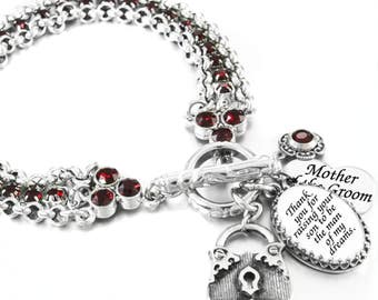 Ruby Crystal Charm Bracelet, Mother of the Groom Jewelry, Ruby Groom's Mother Gift, Ruby Crystal Wedding Gifts