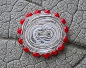 White and Red BUTTON Lampwork Beads by Cherie Sra R114 Flamedworked Glass Button White Red Two Hole Handmade Button Filigrani Red Dot Button