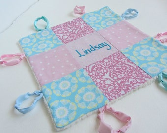 Baby Lovey Girl Custom Name or Initial Hand Embroidered ~ Choice of Backing Fabric ~ Pink Robins Egg Blue Nursery ~ Hummingbird Damask Dots