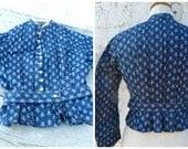 Vintage Antique 1850s/1890s French Victorian navy blue calicot corset blouse manches coudées XS/S