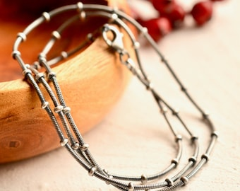 Sterling Silver Beaded Snake Chain, Decorative Silver Chain, FREE SHIPPING