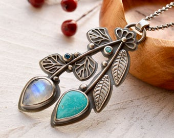 Silver Botanical Necklace, Turquoise Necklace, Handcrafted Stone Necklace, Moonstone Necklace, Gemstone Necklace, Nature Inspired Jewelry