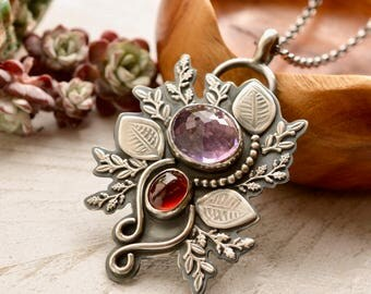 Amethyst Pendant, Hessonite Garnet Necklace, Modern Metalwork, Nature Inspired, Hand Stamped Silver Leaf Pendant, Botanical Jewelry, Artisan