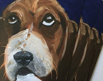 Not Unhappy Basset Hound  Notecard Set from Original Painting Collage