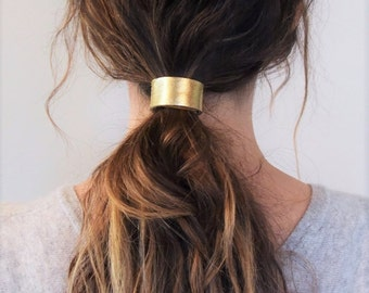 Leather Hair Cuff Ponytail Holder in Gold size 4inches