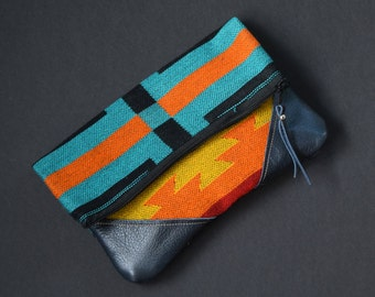 Fold-Over Clutch - Teal/Black/Orange