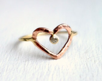 14k Yellow and Rose Gold Valentine's Day Handmade Rose and Yellow Gold Heart Ring with Champagne Diamond