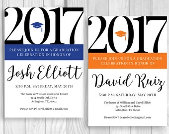 Graduation Party 5x7 Custom Personalized Printable Invitations - Custom School Color Accent - College or High School - Class of 2017