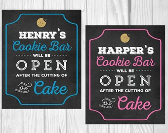 Personalized 8x10 Printable Birthday Cookie Bar, Cookie Buffet Party Sign - Any Color - featuring YOUR CHILD'S NAME