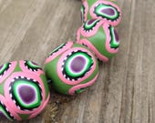Reserved for Julie Fun Set of Handmade Polymer Clay Beads in Khaki Green with Soft Pink and Peacock Eyes