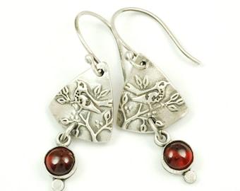 Garnet Wren Earrings - Sterling Silver and Natural Garnet Birthstone Bird Earrings, Wren Jewelry