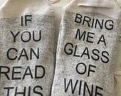 Custom Women Socks - If you can read this bring me a glass of wine - Blue