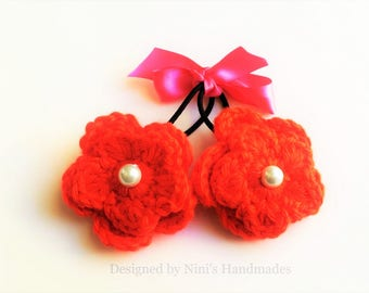 Reusable Versatile TOMATO Red Crochet Flower Ponytail Holder Hair Tie, red crochet flower hair accessories, spring and summer accessories