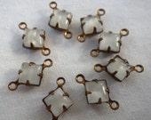 ON SALE 15% off White Moonstone 6x6mm Square Vintage Glass Connectors 6 pieces