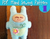 PDF Hand Sewing Pattern - Sprout Snugz Doll - wool felt mini stuffed toy gnome dwarf plushie pattern felt toy animal embroidery ornament