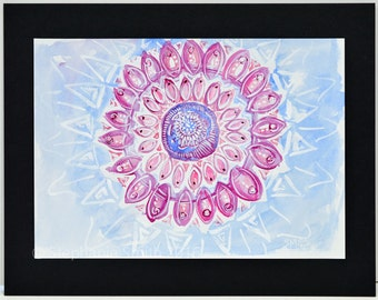 Original Expressive Mandala Watercolor Painting: Lovely Afternoon