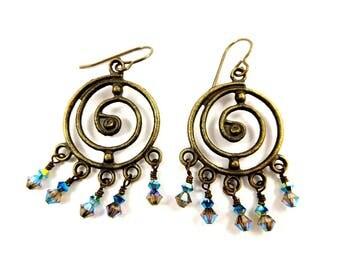 Brass Chandelier Earrings Sparkling Crystal Earrings Antique Bronze Spiral Jewelry Bohemian Accessory Swarovski Dangles