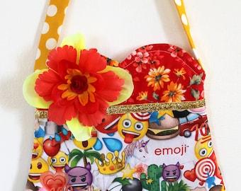 Emoji purse, tween purse, girls purse, pom pom purse, smiley face