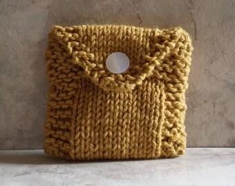 Tea Bag Tote, Tea Bag Wallet, Cotton Handknit, Mustard, Gift under 15
