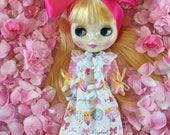 Blythe .. Sweet Treats Nightgown, Super PrettySleep Wear for Blythe, Pullip and all other Similar sized dolls..Handmade and Ooak!!