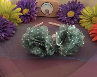 Green and White Polka Dot Flower Headband