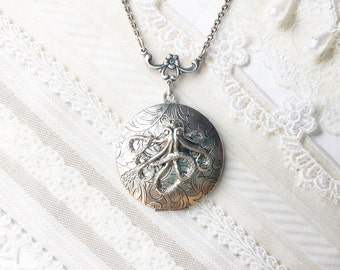 Silver Locket Necklace- The ORIGINAL Silver OCTOPUS LOCKET - by BirdzNbeez - Mother's Day Birthday Friend Sister Gift