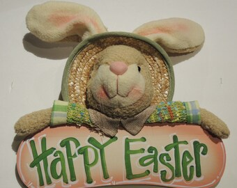 Plush Bunny with Handlettered Wood Sign
