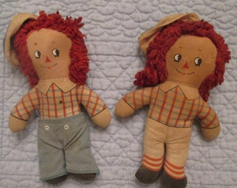 Vintage Raggedy Kids Pocket Dolls - Collectible Pocket Dolls - Raggedy Andy Dolls