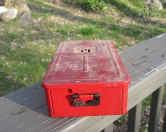 Vintage Red Tin Box - Red Tin Drill Bit Container -  Rustic Red Storage Box