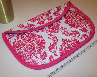 MINI Curling Iron Case / Mini Flat Iron Cover for Travel or the Gym (Insulated) - Pink And White Damask