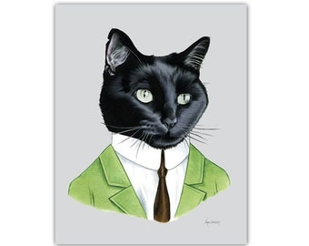Black Cat Gentleman art print by Ryan Berkley 5x7