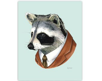 Raccoon Animal Art Print for Nursery or your Living Room by Ryan Berkley 5x7