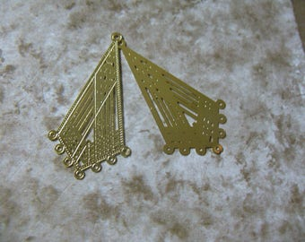 Gold Plated Lazer Lace drop Kite 18x 35mm - 8 Pair