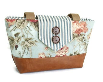 English Garden Floral - Ticking Stripes - Wayfarer Purse - Spring/Summer - French Country
