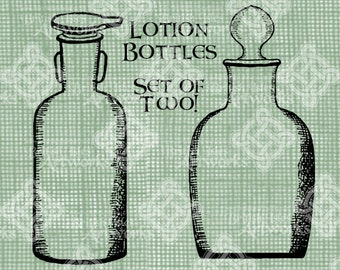 Digital Download, Cosmetic or Lotion Bottles Set of 2, Antique Illustration, Iron On Transfer, DigiStamp, Transparent png