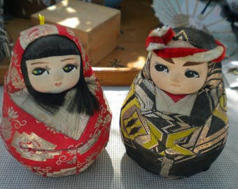 Vintage Hina Matsuri pair for Girls Day display - rolly polly