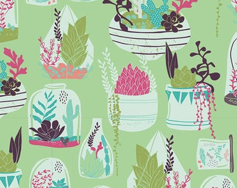 Habitat Lucious - Succulence - Art Gallery Fabrics - Bonnie Christine - SCC-98610 - Succulents Plants Garden Terrarium Cactus Desert