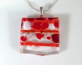 Handmade Silver Fused Glass Necklace in Gift Box - Red and White - FREE UK SHIPPING