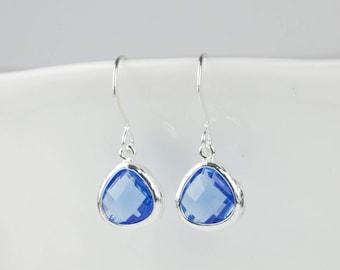 Tiny Sapphire Silver Earrings,  September Birthstone Silver Earrings, Blue Silver Earrings, Bridesmaid Earrings, September Birthday Gift