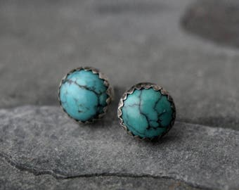 Turquoise Sterling Silver Stud Earrings 8mm Round Natural Gemstone Cabochon Post Handmade Jewelry Serrated Bezel Oxidized Antique Finish
