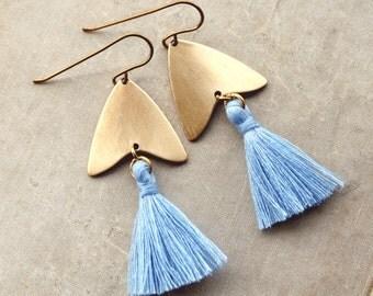 Light Blue Tassel Earrings, Natural Brass Tassel Earrings, Arrowhead, Arrow Earrings